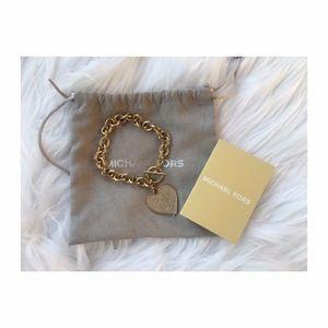 Michael Kors Pave Heart Gold Toggle Bracelet NWT